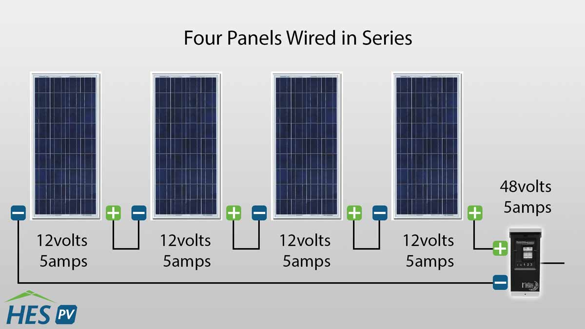 How to Wire Solar Panels in Parallel or Series | HES PV Blog | HES  Watt For Solar Panels Wiring Diagram on cooling for solar panels, wiring diagrams for solar charge controllers, fuses for solar panels, specs for solar panels, wiring diagrams for off grid solar,